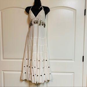 Boho White Layered Sundress Bronze Jingle Dress S